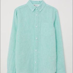 H&M Linen Green Oxford Shirt